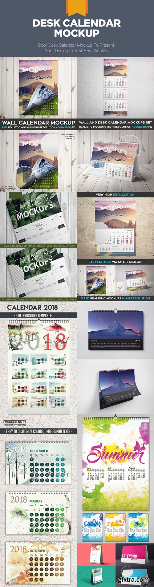Calendar 2018/2019 Mockup Collection in PSD