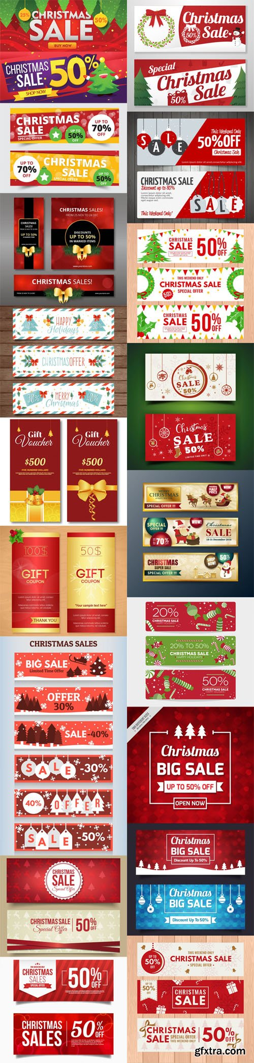 Holiday & Christmas Sales Vector Bundle 5