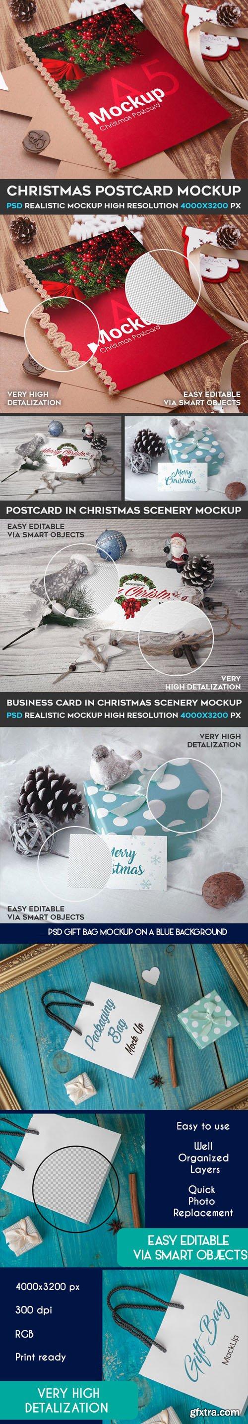 Christmas Postcard + Gift Bag Mockups Collection in PSD