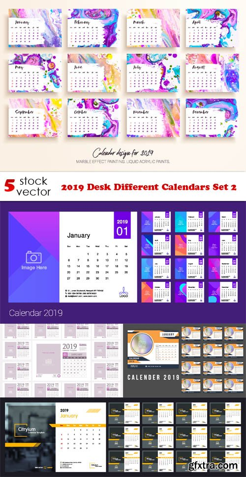 Vectors - 2019 Desk Different Calendars Set 2