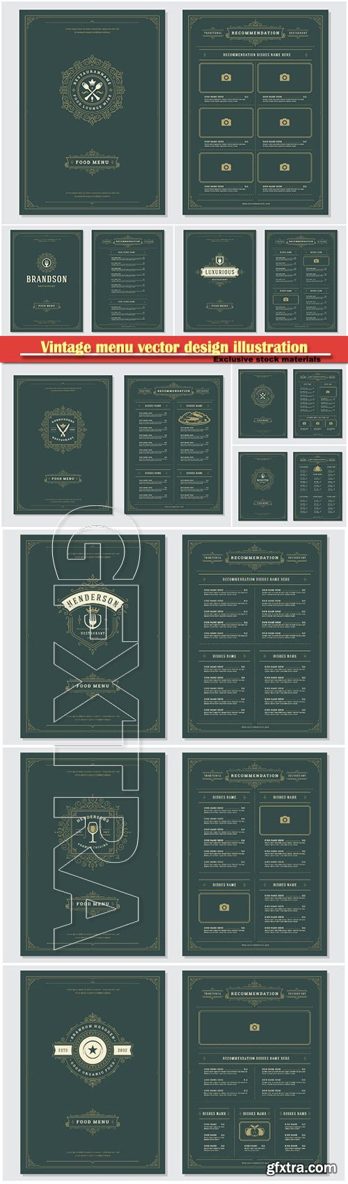 Vintage menu vector design illustration