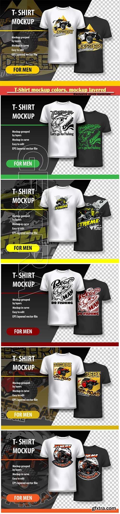 T-Shirt mockup colors, mockup layered and editable