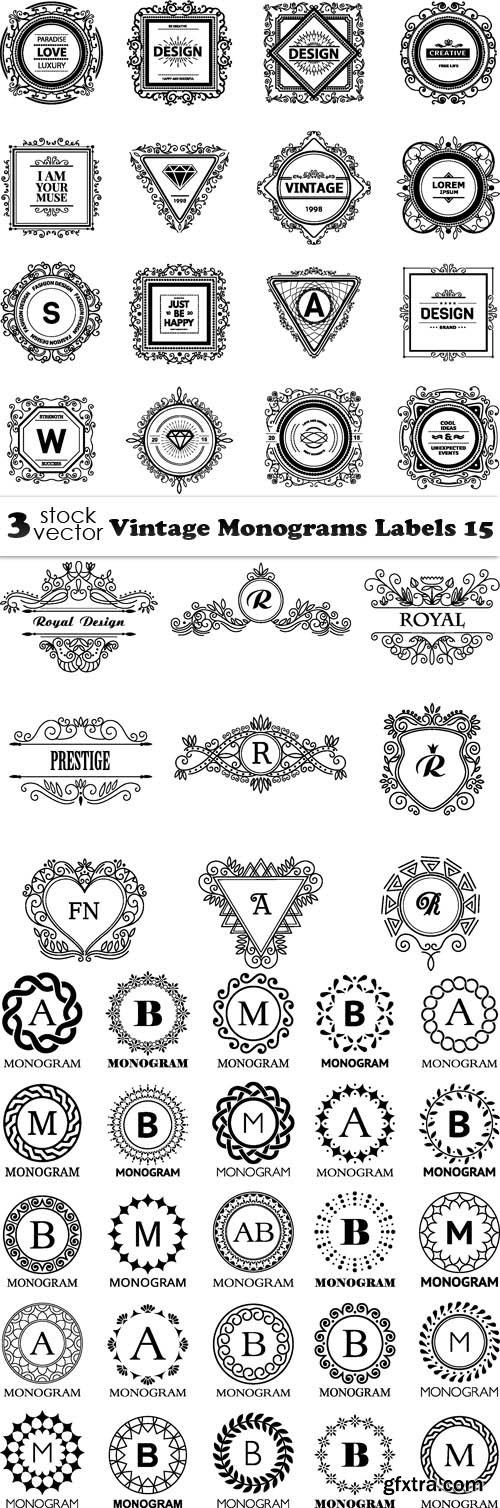 Vectors - Vintage Monograms Labels 15