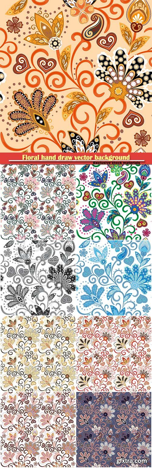 Vintage pattern in indian batik style, floral hand draw vector background
