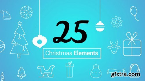 MA - 25 Christmas Outlined Elements Stock Motion Graphics 152889