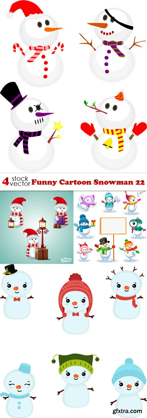 Vectors - Funny Cartoon Snowman 22