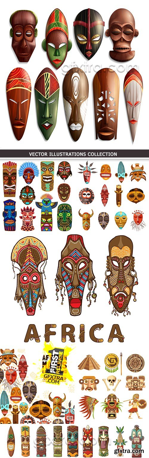 African mask totem exotic decorative illustration collection