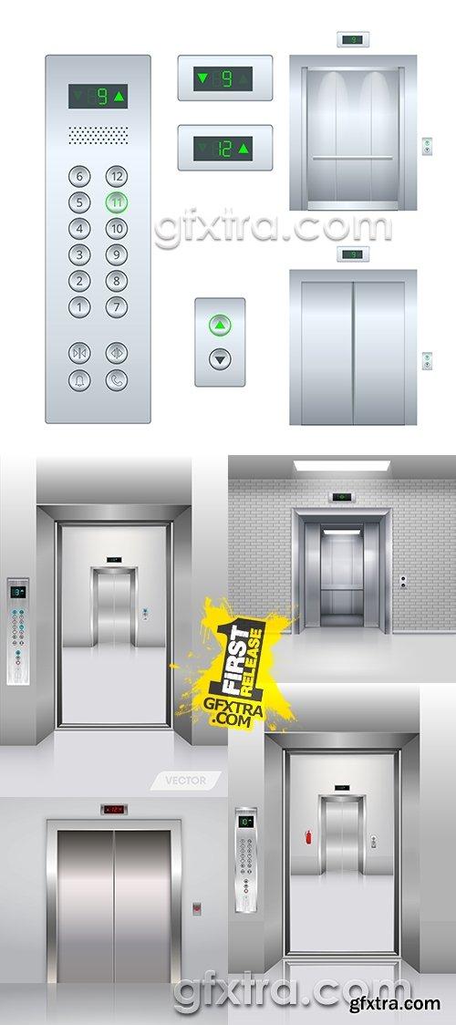 Elevator modern ofrmleniye of entrance to door 3D illustration