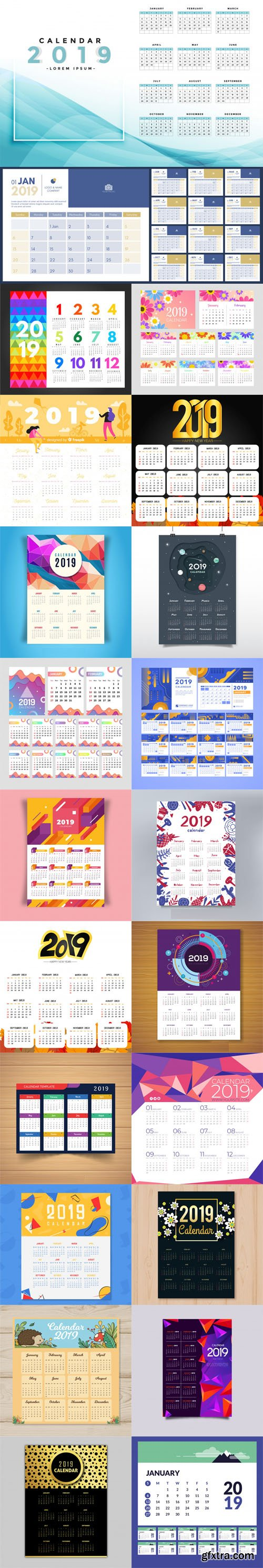 2019 Calendar Vector Templates Collection 4 [22 Calendars]