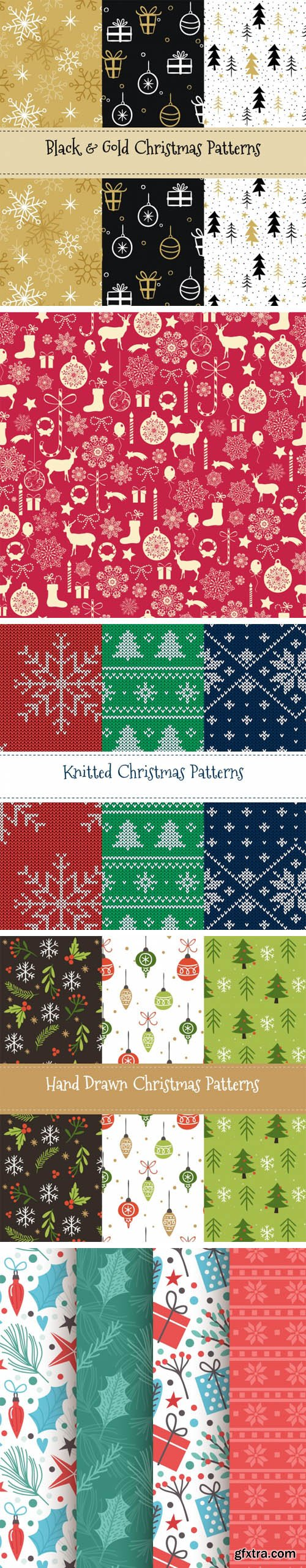 Christmas Patterns Vector Collection 4