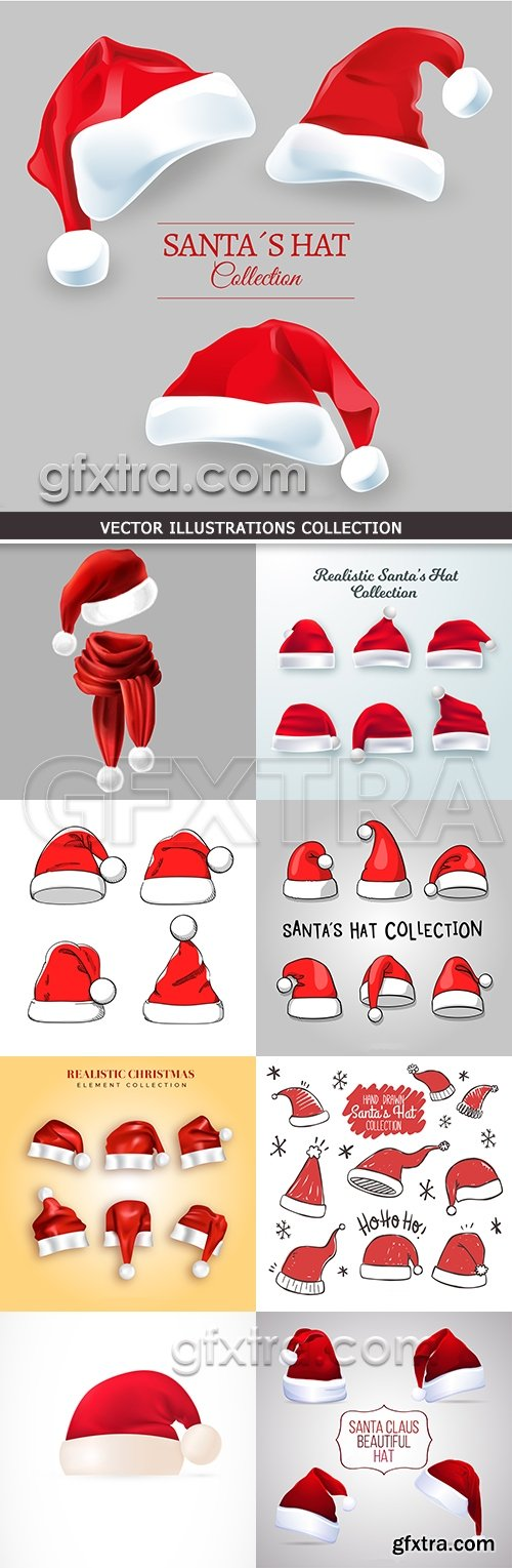 Christmas red hat of Santa collection illustrations