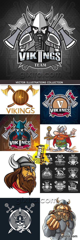 Viking Scandinavian ancient emblem and elements weapon