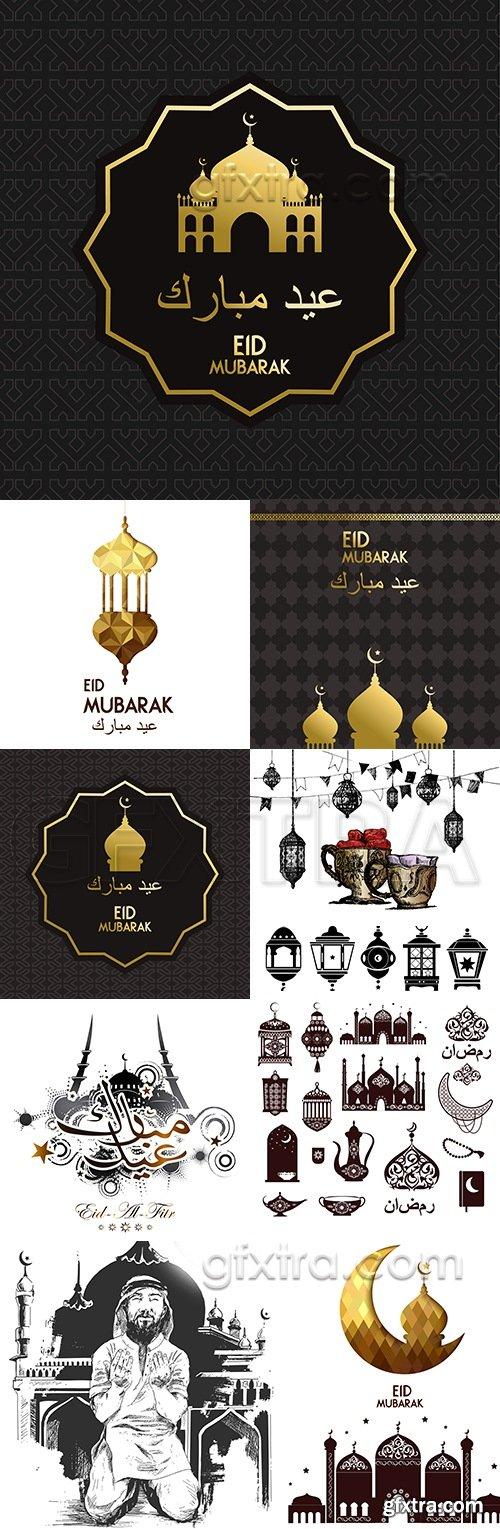 Eid Mubarak and Ramadan Kareem traditional decoration design