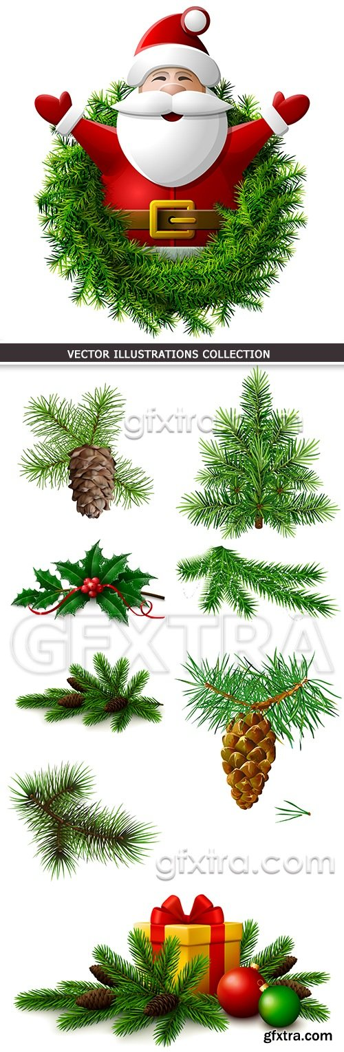 Fir-tree branches with cones New Year\'s illustrations