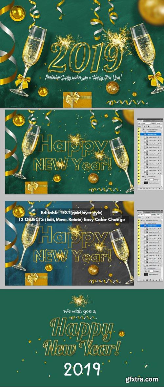 Happy New Year 2019 Greeting Card PSD Mockup