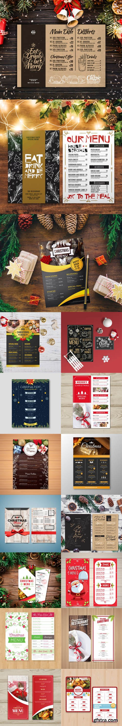 Christmas Menus Vector Templates Collection 2
