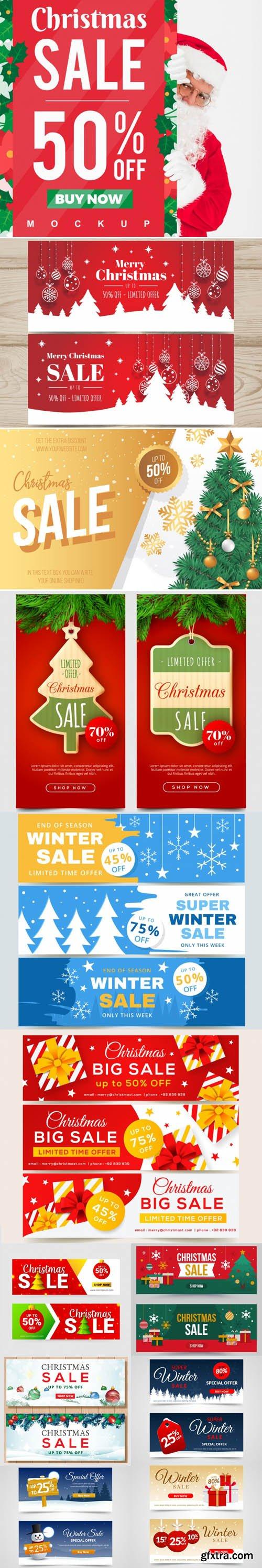 Holiday & Christmas Sales Vector Bundle 7