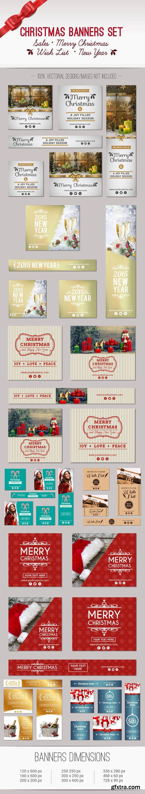 Christmas & New Year Banners Vector Collection 3
