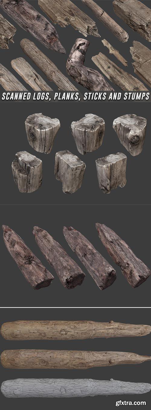 CubeBrush - Scanned Logs, Planks, Sticks and Stumps