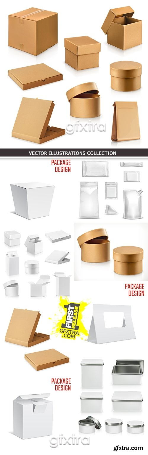 Packing cardboard box and container sale goods design