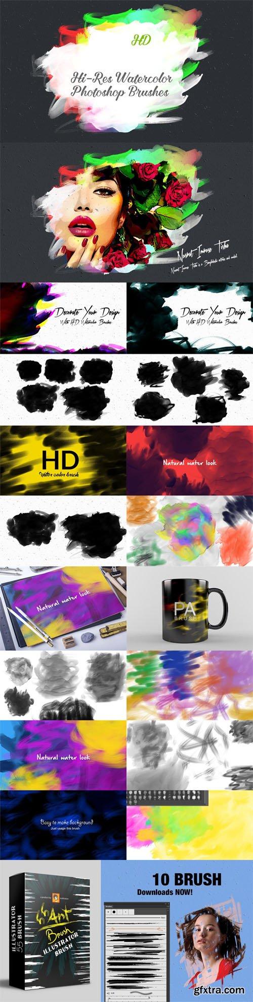 35+ HD Watercolor Photoshop Brushes [ABR] + Illustrator Art Brush [Ai]
