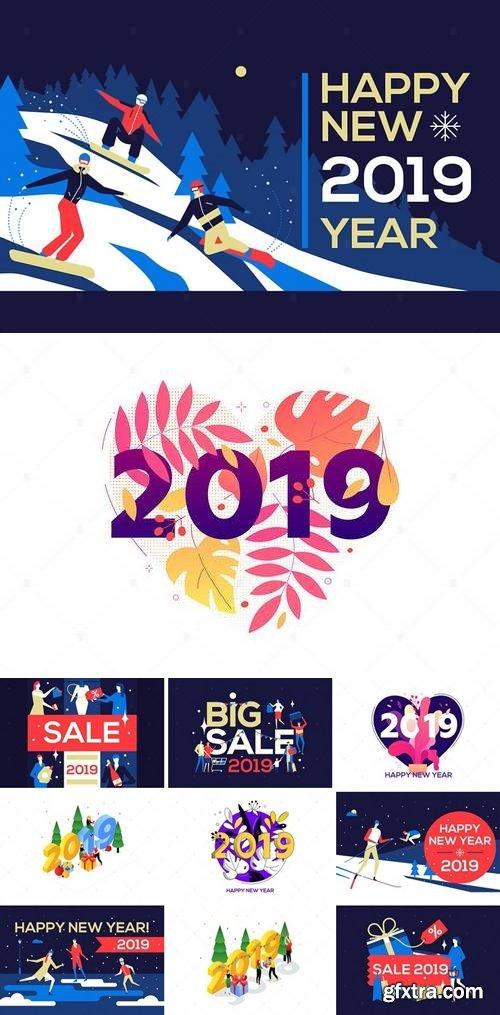 Happy New Year - flat design style illustration Bundle