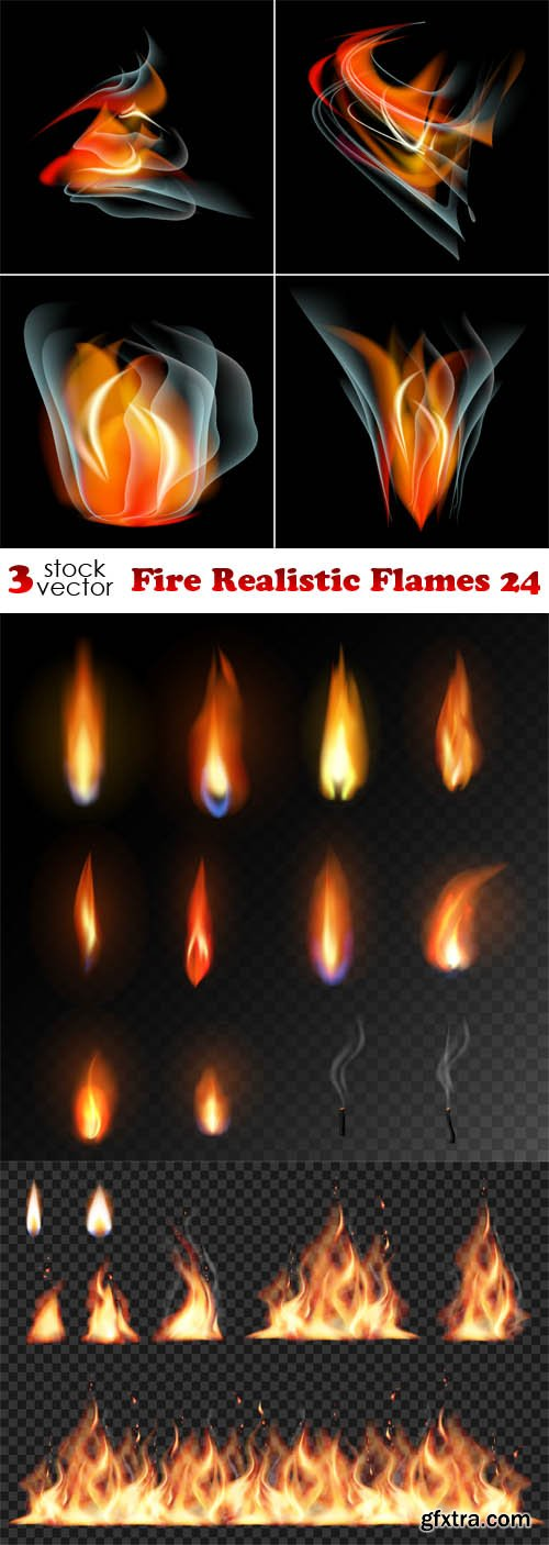 Vectors - Fire Realistic Flames 24