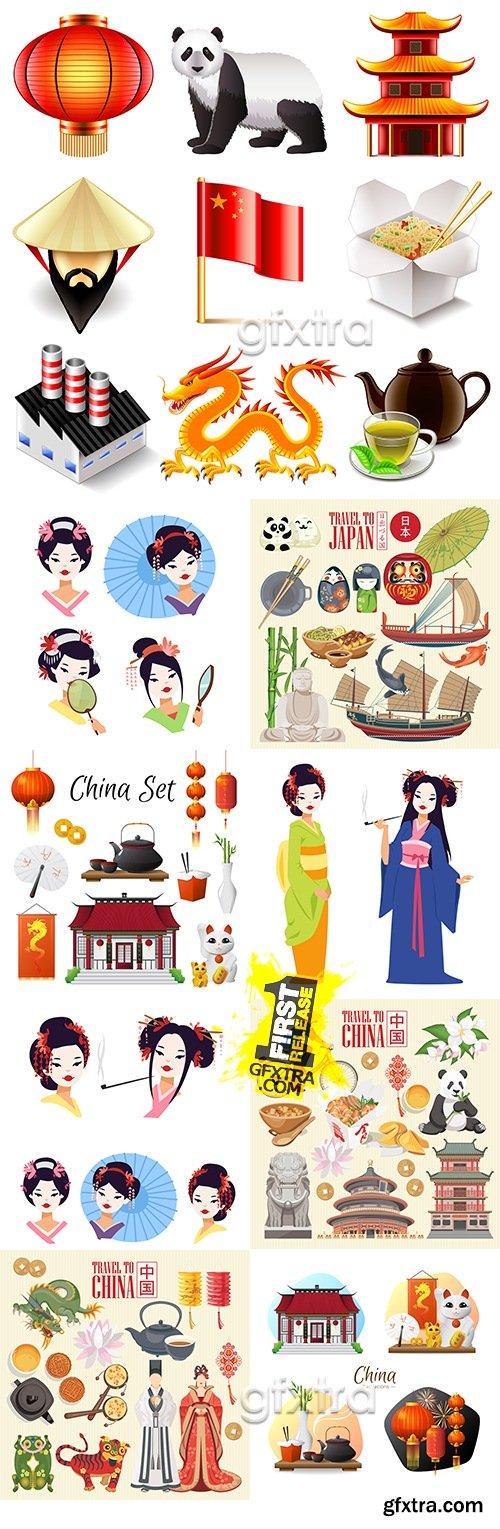 Japan traditions attribute and geisha dress kimono