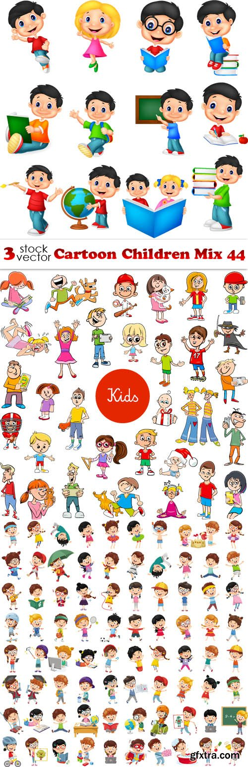 Vectors - Cartoon Children Mix 44