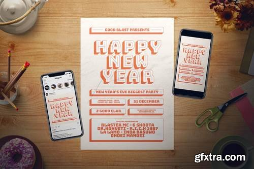 Retro New Year Flyer Set