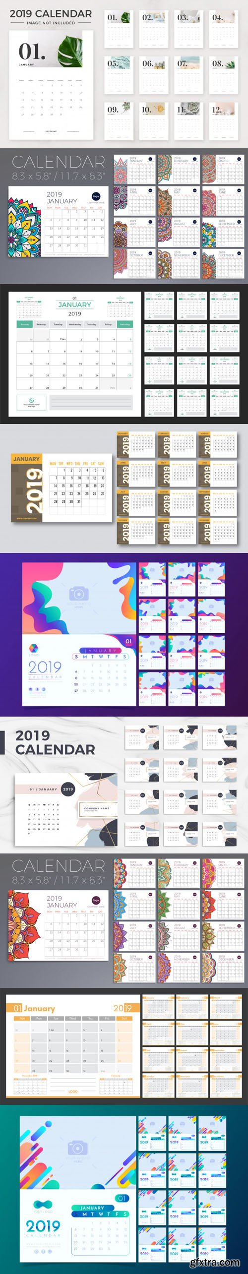 2019 Calendar Vector Templates Collection 6 [ 9 Calendars ]