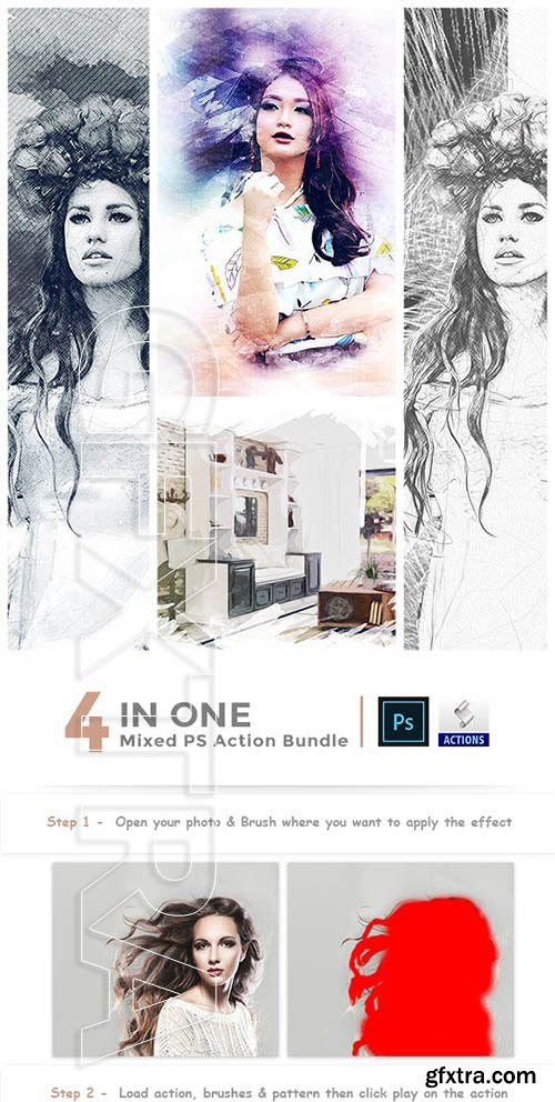 GraphicRiver - 4 in One Mixed PS Action Bundle 23071832