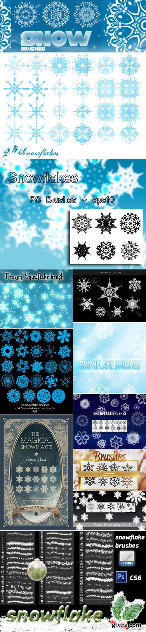 Snowflakes Brushes for Photoshop Pack 3