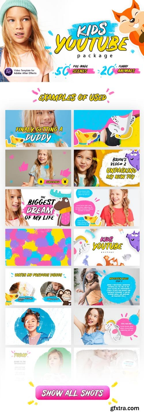 Videohive - Kids Youtube Package | For Ae V.1.3 ( Update 18.10.2018 )- 22298286
