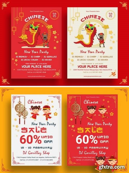 Chinese New Year Party Flyer Bundle