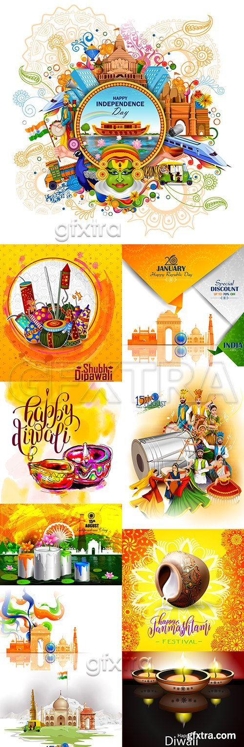 Indian tradition celebration decorative design illustration