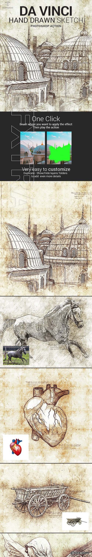 CreativeMarket - Da Vinci Sketch Art Photoshop Action 3323459