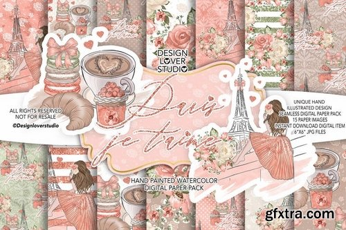 Paris je t\'aime digital paper pack