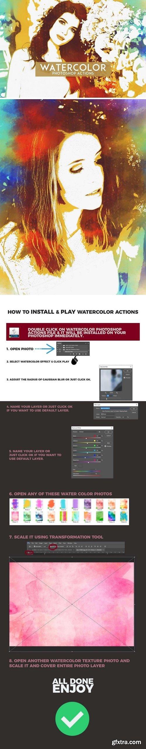 CM - Watercolor Photoshop Actions 1201680