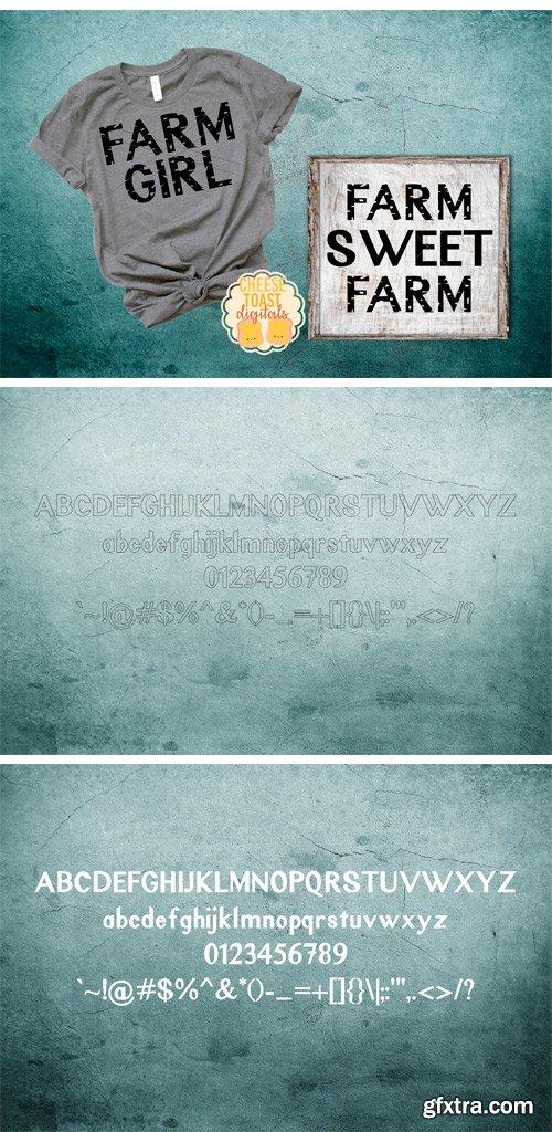 Fontbundles - Rustic Oak A Grunge, Solid, and Stencil Font 85080