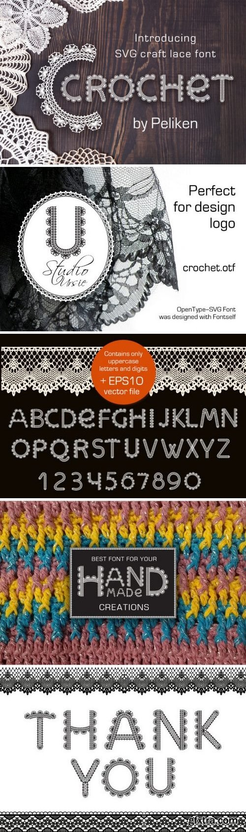 Fontbundles - Crochet - svg craft lace font 188683