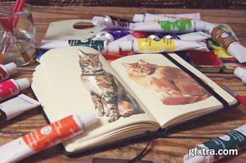 Pocket Notebook Acrylic Paint Tubs