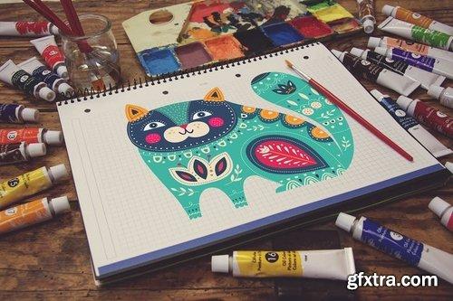Grid Notebook Paint Scene