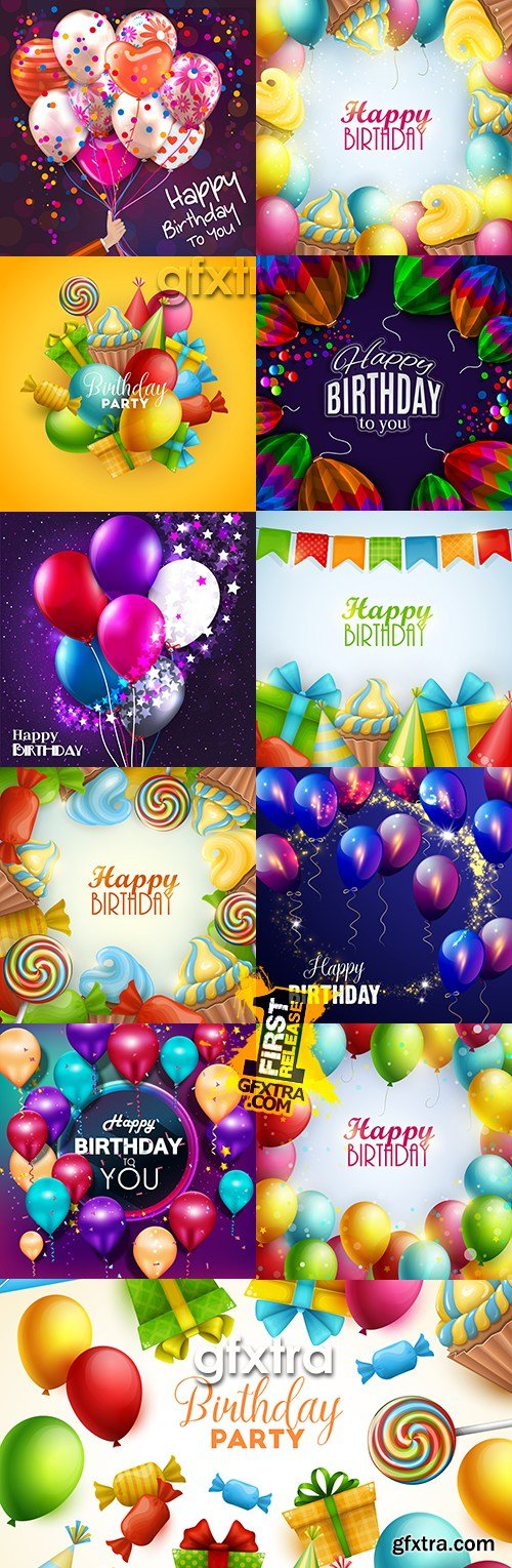 Happy Birthday holiday balloons and gifts collection # 2