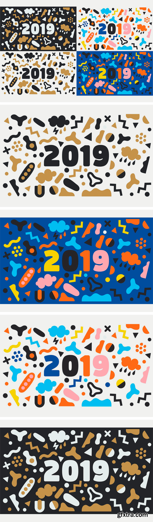 CM - 2019 New Year Vector Background Set 3020130