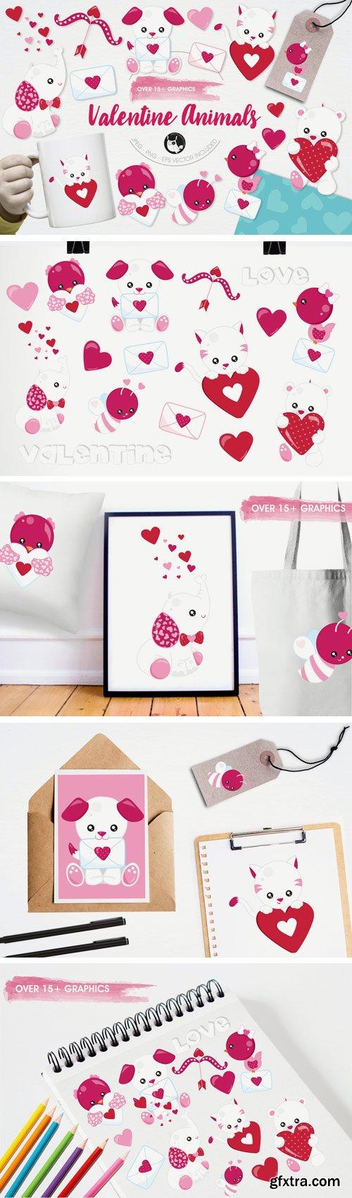 Designbundles - Valentine Animals Graphics and Illustrations 14606
