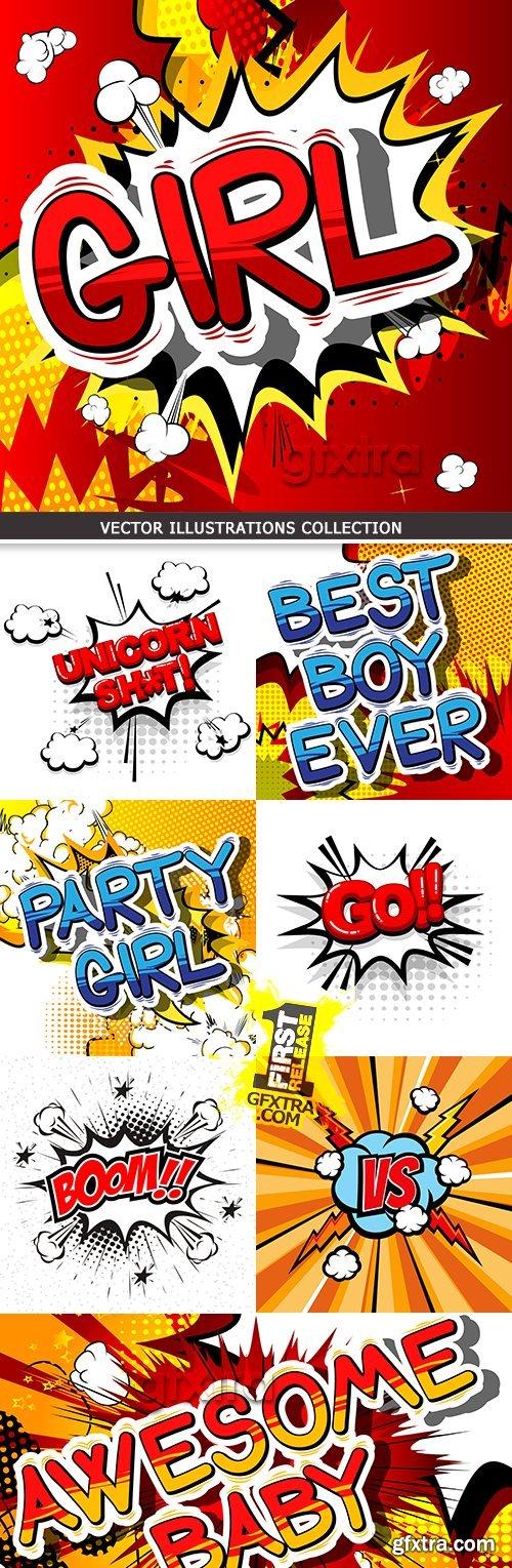 Pop art bubble bomb banner cartoon cloud collection
