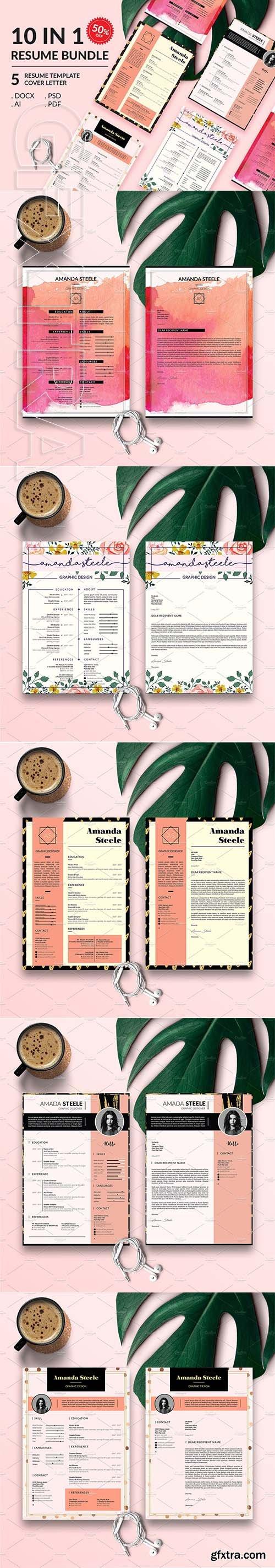 CreativeMarket - Gold Rose Resume BUNDLE Template N 3338013