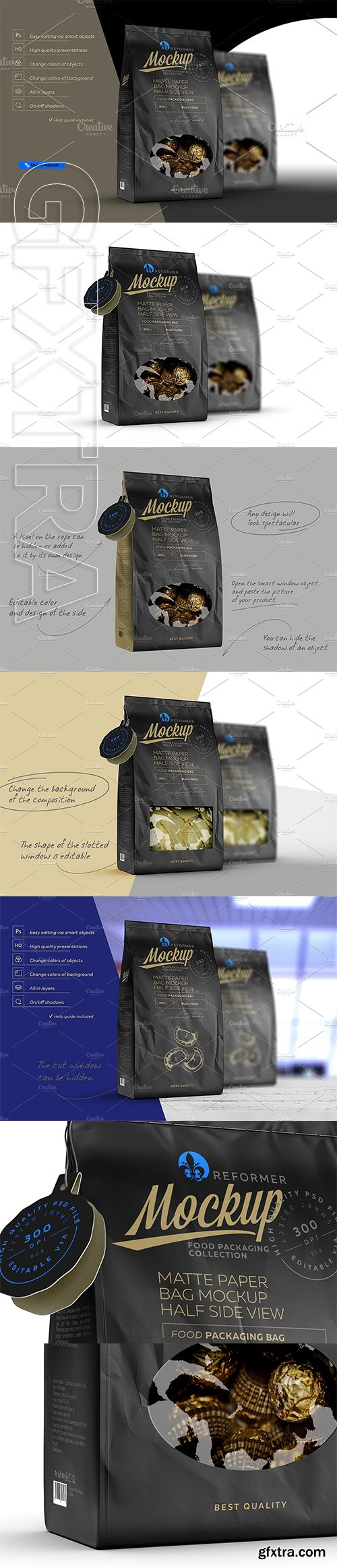 CreativeMarket - Black Paper Bag With Window Mock-up 2217700