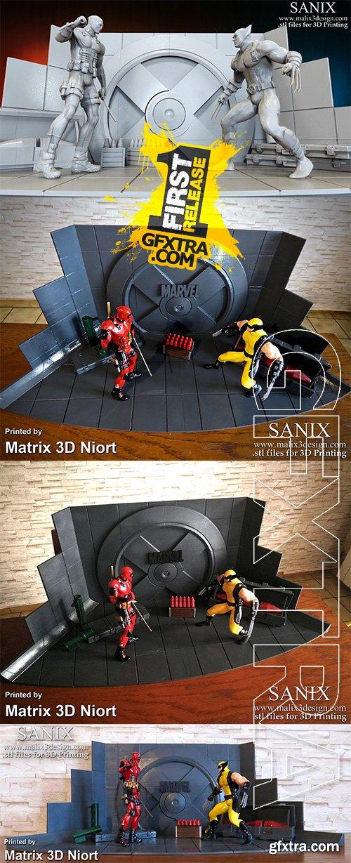 Cubebrush - Xmen Diorama Deadpool vs Wolverine 3D Print Model